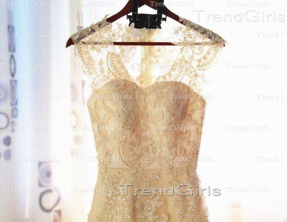 Custom Made V-neck Lace Wedding Dresses, Wedding Dresses, Lace Bridal Dress, Bridal Gown, Wedding Dress 2014 on Etsy, $289.99
