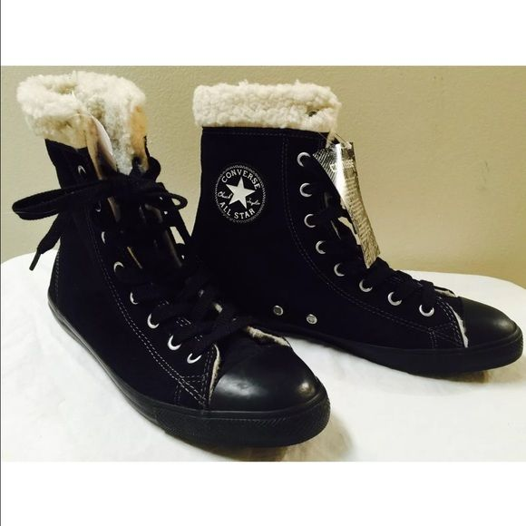 Women's Converse Chuck Taylor Black Sneakers New with tags! New without box!! Converse chuck taylor all star. Fur lined black sneakers. Size 7. Converse Shoes Sneakers
