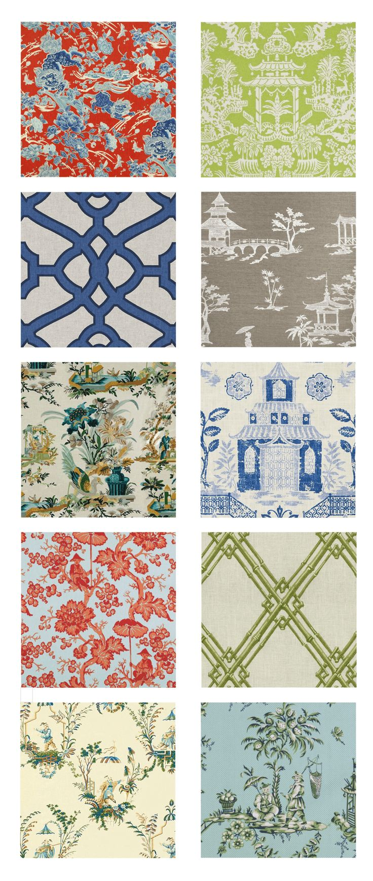 Chinoiserie: 10 Timeless Fabrics and Wallcoverings from Brunschwig & Fils, Duralee, Bailey & Griffin and Phillip Jeffries. Available through KDR Designer Showrooms.