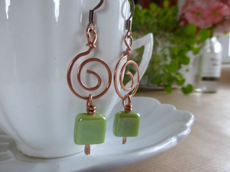 Earrings: Lime Green Squares Hanning From Hammered Copper Spirals by TheCatAndTheClasp on Etsy