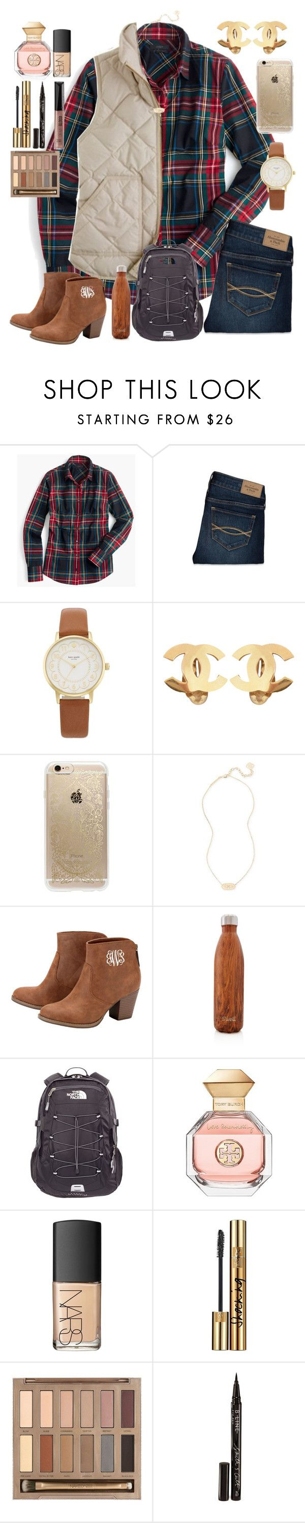 """""""1/24/17"""" by ctrygrl1999 ❤ liked on Polyvore featuring J.Crew, Abercrombie & Fitch, Kate Spade, Chanel, Rifle Paper Co, Kendra Scott, S'well, The North Face, Tory Burch and NARS Cosmetics"""