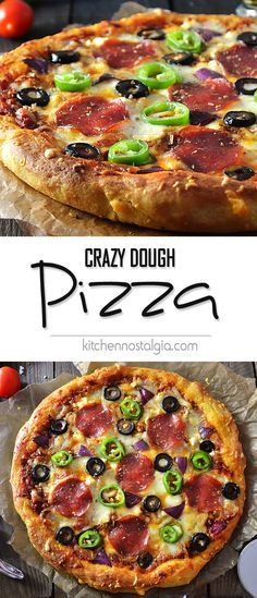 Crazy Dough Pizza Recipe - the best tasting pizza dough from scratch! Mix the ingredients, keep in your fridge or freezer and have on hand wherever you need!