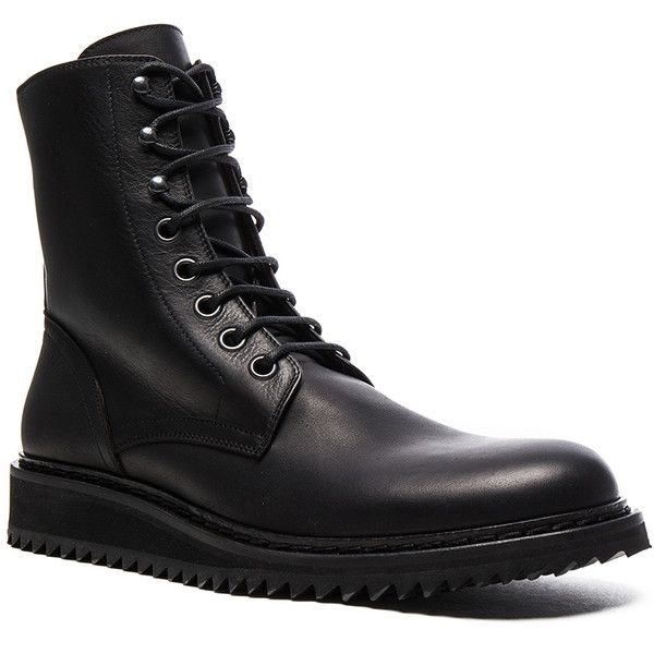 Ann Demeulemeester Lace Up Leather Combat Boots (7,185 CNY) ❤ liked on Polyvore featuring men's fashion, men's shoes, men's boots, ankle boots, boots, mens lace up boots, mens leather ankle boots, mens leather lace up boots, mens leather military boots and mens leather shoes