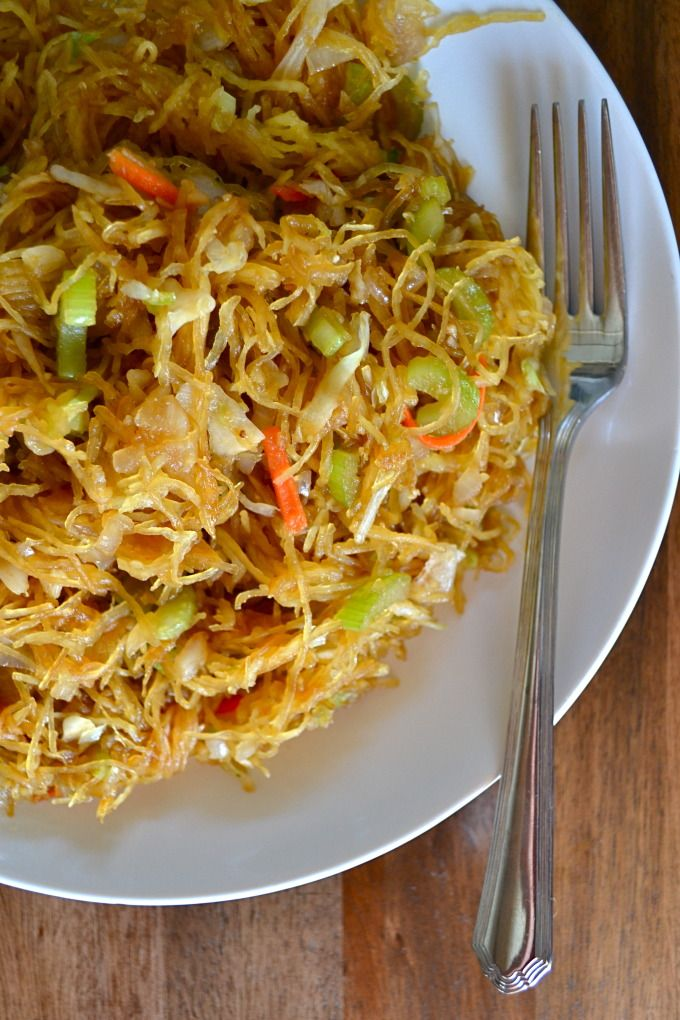 "Easy meals for dinner  Spaghetti Squash Chow Mein  ""- easy to make and healthy! a perfect swap when your in the mood for chinese food!""  Comment: ""Not paleo. Soy sauce and sugar. Nope""  Comment on comment: Innovative recipe concept - adjust as needed. 1 large spaghetti squash 1/4 cup soy sauce 3 cloves garlic, minced 1 tablespoon brown sugar, packed 2 teaspoons freshly grated ginger 1/4 teaspoon white pepper 2 tablespoons olive oil 1 onion, diced 3 stalks celery, sliced diagonally 2 cups cole slaw mix (shredded cabbage and carrots)"