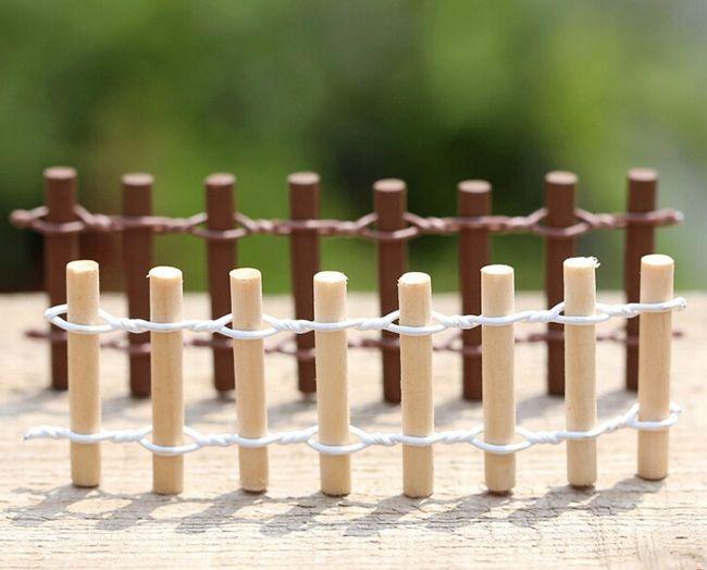 Мини деревянный забор круглый фея садовые принадлежности сочные растения бонсай DIY цветочное оформление купить на AliExpress