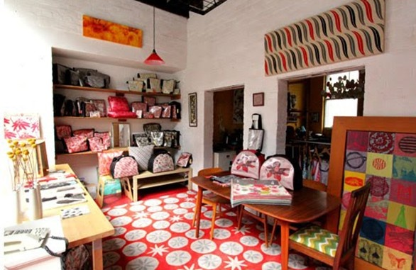 Nicola Cerini's fabulous Richmond studio. Loving the original Nicola Cerini Seed Pod rug - looks fab!! #TheRugCollection