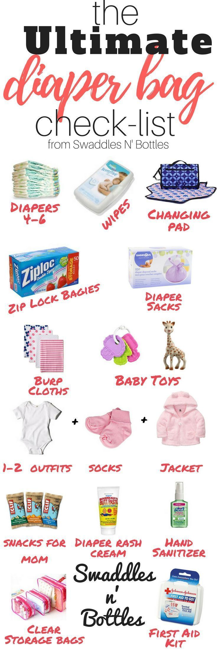 Packing a diaper bag is serious business! Here's a complete list of all the things you need! A great check list for moms-to-be!