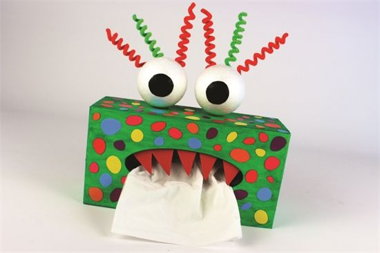 Boite mouchoirs monstre rigolo bricolage enfant pinterest bo tes de mouchoirs bo tes et - Boite de mouchoir a decorer ...