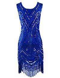 PrettyGuide Damen 1920 Weinlese Perlen Sequin Art Deco Flapper Paisley Partei-Kleid