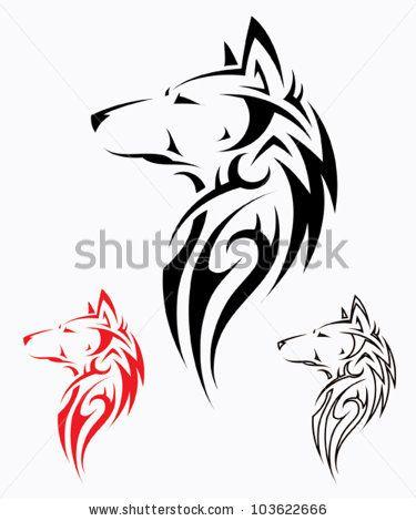 Tribal wolf tattoo - v...