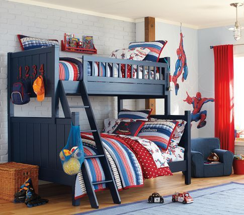 Dark blue and red bunk bed boys Spice rack for books Hooks on end of bunks!