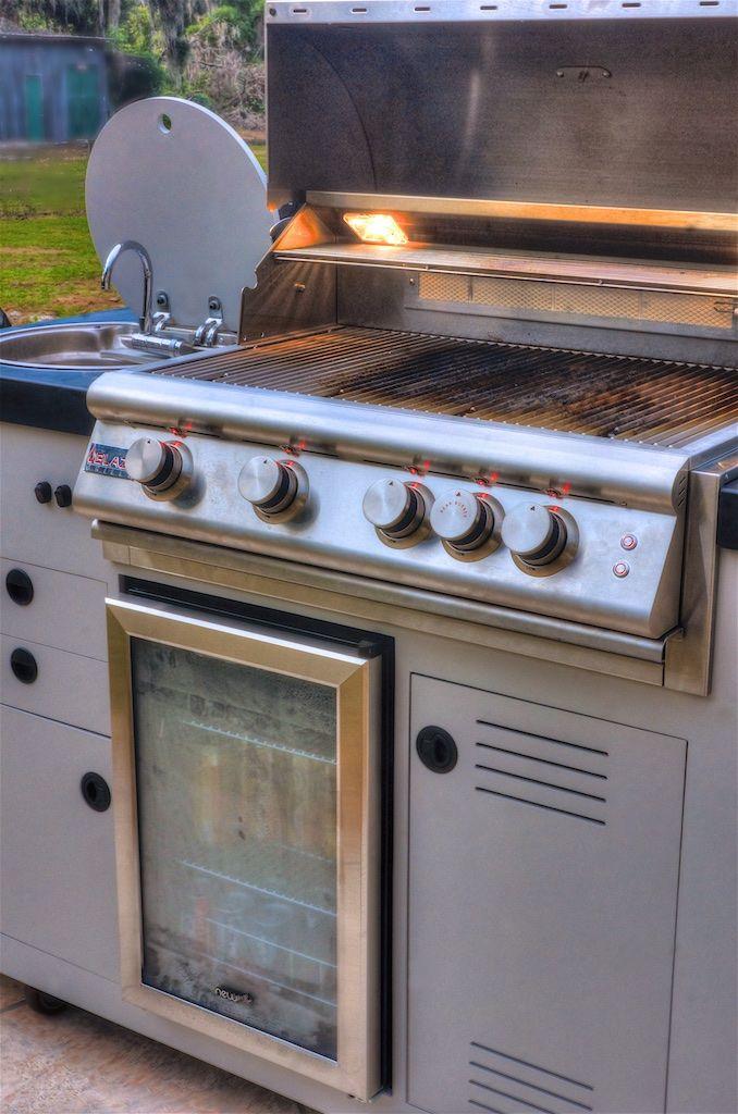 Outdoor Kitchen 48 Mobile Concept 4 Burner Blaze Gas Grill Hand Sink 84 Can Beverage Cooler Sidebar Beverage Outdoor Kitchen Kamado Grill Ceramic Grill