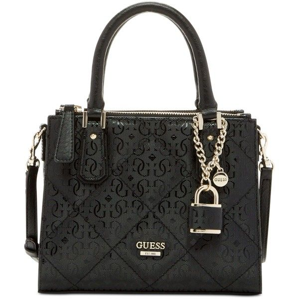 Guess Ophelia Petite Girlfriend Crossbody (345 BRL) ❤ liked on Polyvore featuring bags, handbags, shoulder bags, black, black crossbody purse, black structured handbag, shoulder strap bag, black purse and crossbody handbags