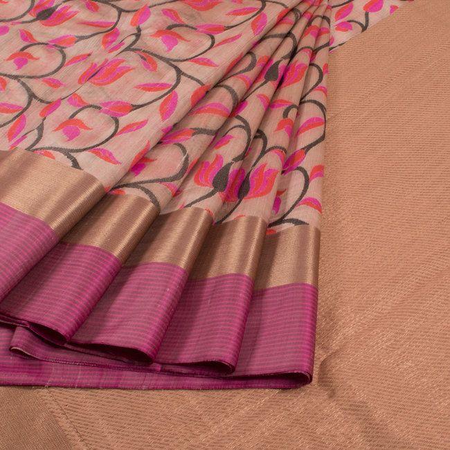 Handwoven Beige & Magenta Banarasi Kadhwa Tussar Silk Saree With Jangla & Meenakari Design 10013358 - AVISHYA.COM