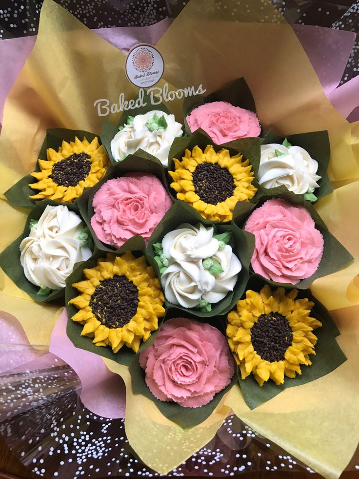 Bouquet of sunflowers and pink and white roses www.bakedblooms.com
