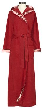 Striped Trim Jersey Knit Robe, Small, Cranberry - contemporary - bath and spa accessories - Nine Space