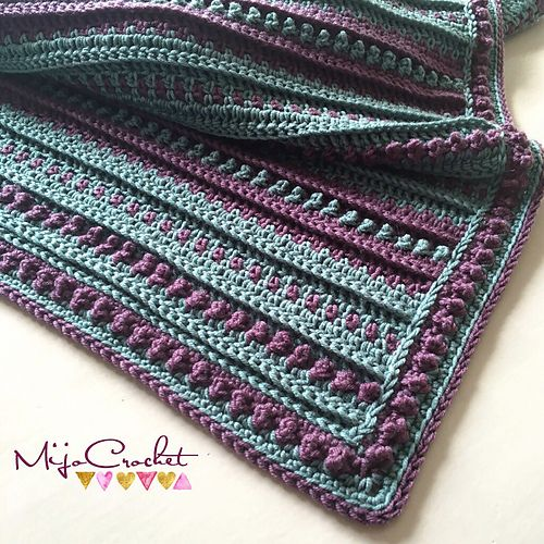 The Northling blanket is worked in rows either from the long side or short side depending on what you like. The structure is made of post stitches and small bobbles of trebles. You can make the blanket any size you like, and there are instructions in the pattern how to do so.