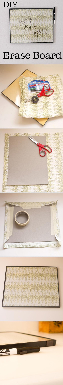 A picture frame + cute fabric = DIY erase board