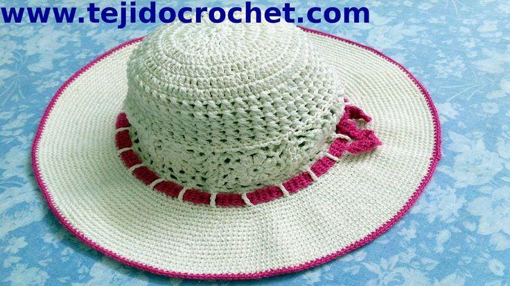 Sombrero playero en tejido crochet tutorial paso a paso.