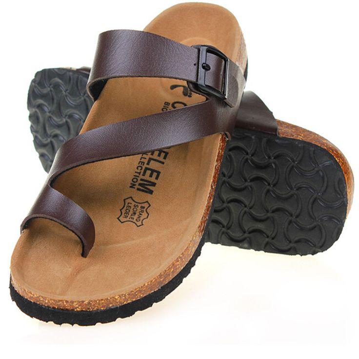 Aliexpress.com: Comprar Envío gratis 2016 del verano nuevas sandalias de hombre exterior pisos Casual Solid Color mixto corcho zapatillas zapatillas de playa diapositivas más el tamaño de calcetines del deslizador fiable proveedores en June's shoes Store