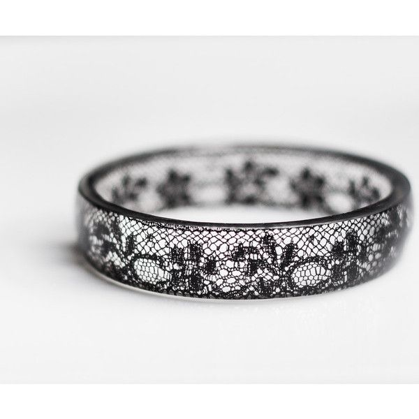 Black Lace Resin Bangle Bracelet Vintage French Lace Medium Cuff OOAK... ($69) ❤ liked on Polyvore