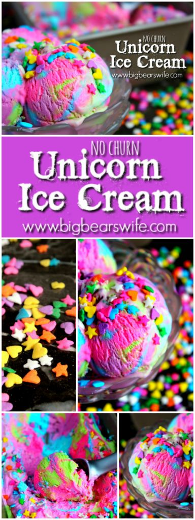 Unicorn Ice Cream - No Churn Ice Cream - Big Bear's Wife
