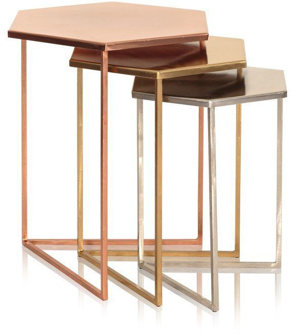 Pin for Later: Jump On the Copper Trend With These 42 Home Accessories Oliver Bonas Set of Three Hexagon Metallic Nesting Tables Oliver Bonas Set of Three Hexagon Metallic Nesting Tables (£195)