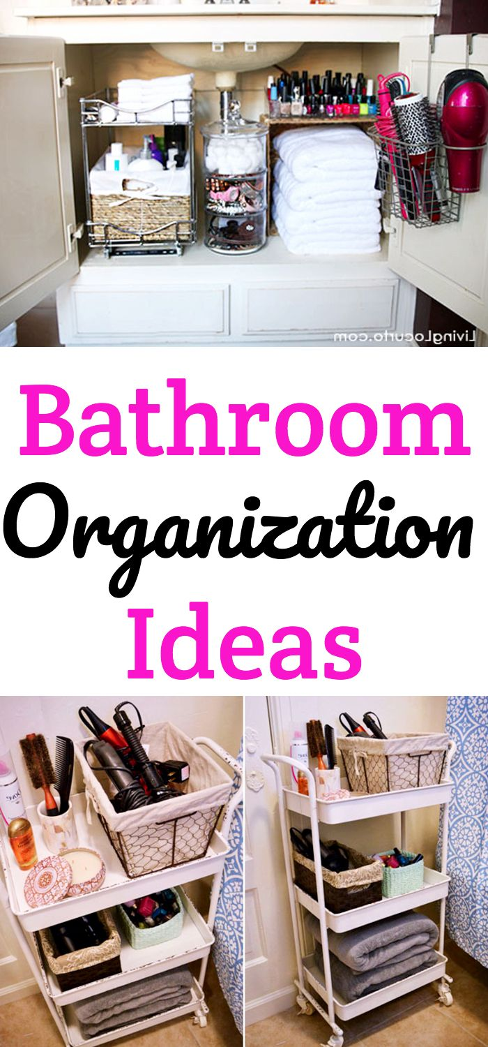 Bathroom Organization! Get organizing ideas for restroom including small apartment organization ideas for the bathroom and larger ones! Learn how to create DIY storage for the bathroom that keeps everything organized.