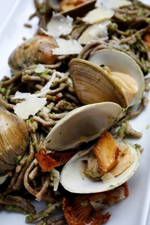 Buckwheat Pasta With Clams and Broccoli Rabe Pesto Recipe Details ...