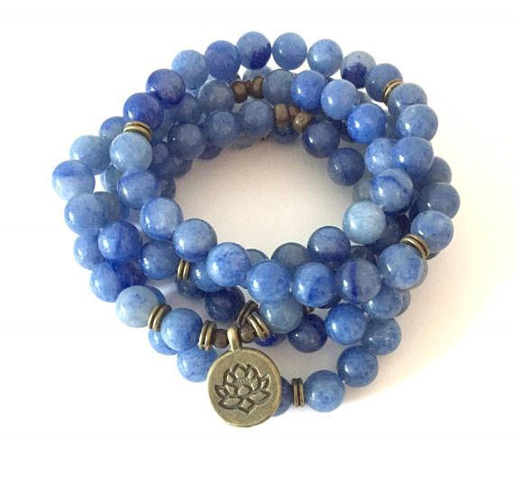Aventurine 108 Mala Wrap Bracelet or Necklace brass lotus