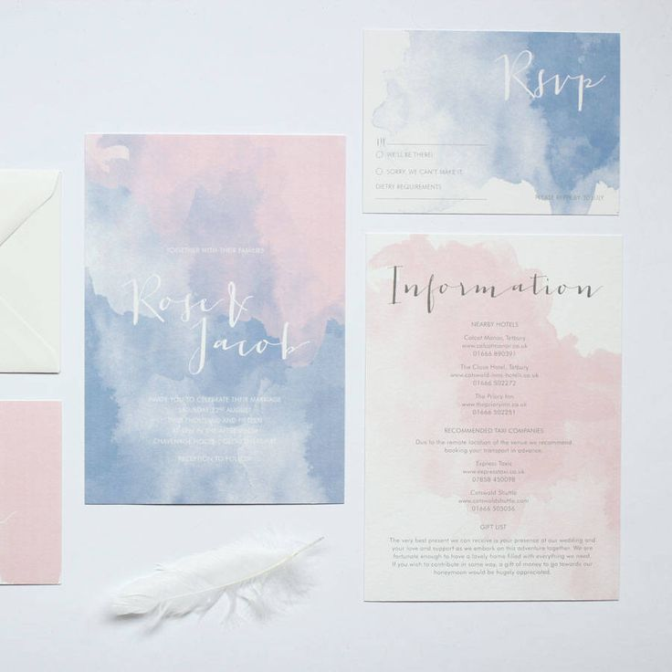 rose watercolour wedding stationery by tree by emily | notonthehighstreet.com