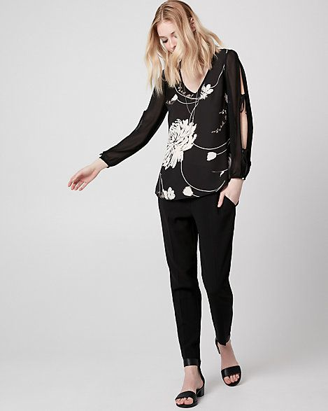 Floral Print Crêpe de Chine V-Neck Blouse - Long sleeves gathered with knotted ties add an ultra-stylish touch to a smooth crêpe de Chine blouse that's perfect for any occasion.