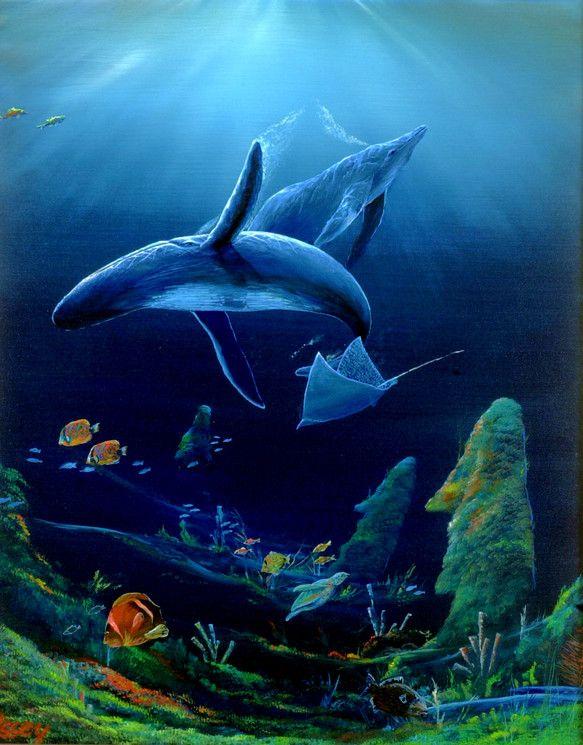 海底に沈んだモアイ像。サイズ・・・F20号・727×606ミリ・キャンバス ハンドメイド、手作り、手仕事品の通販・販売・購入ならCreema。