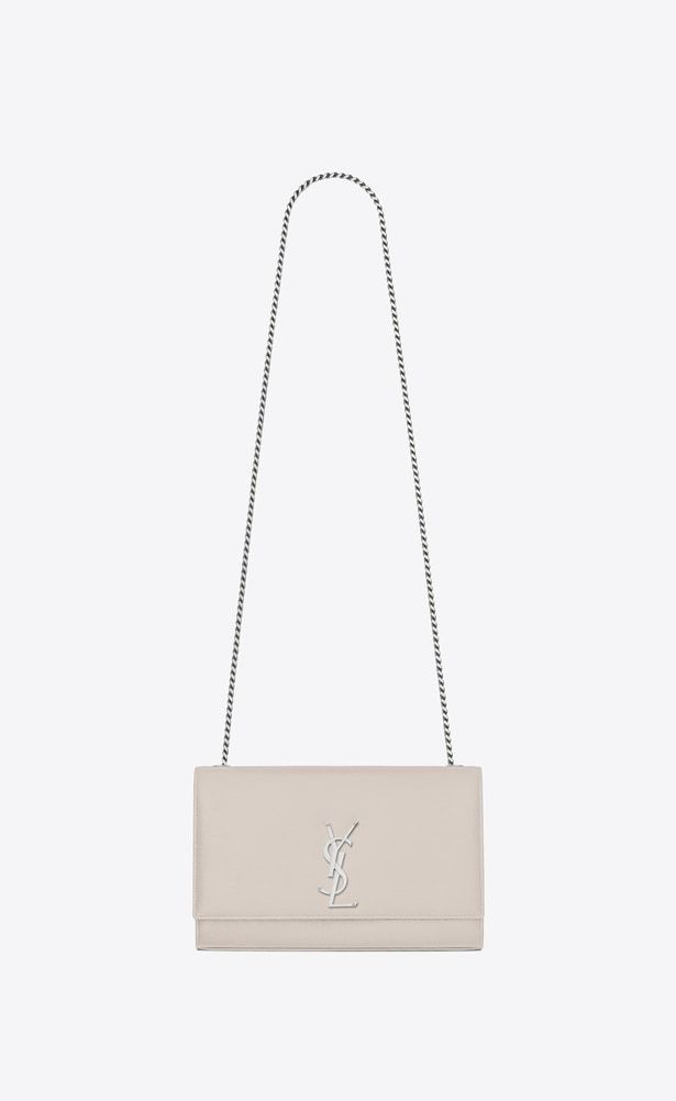 d751a40784286 SAINT LAURENT MONOGRAM KATE Woman medium kate chain bag in icy white  textured leather a_V4