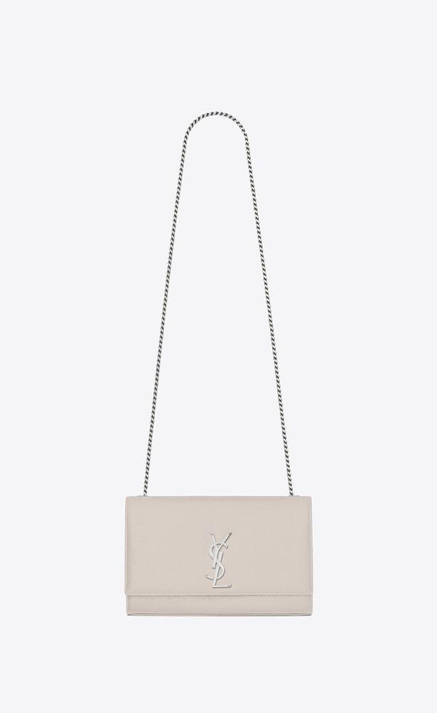 5018f84233 SAINT LAURENT MONOGRAM KATE Woman medium kate chain bag in icy white ...