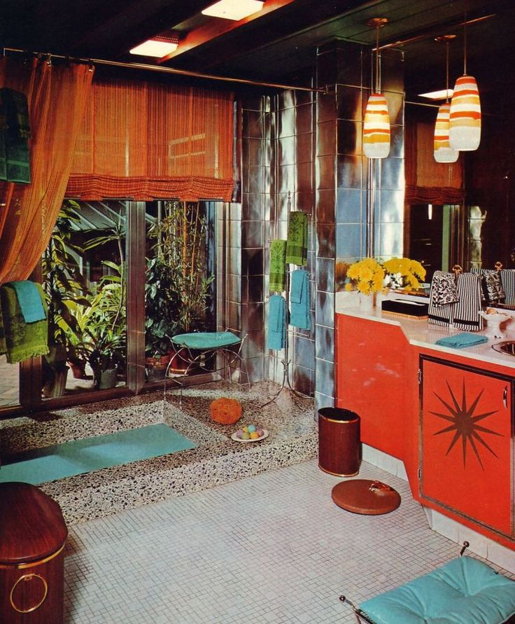 Okay now i 39 m happy wow mid century room in orange and for Colorful bathroom decor