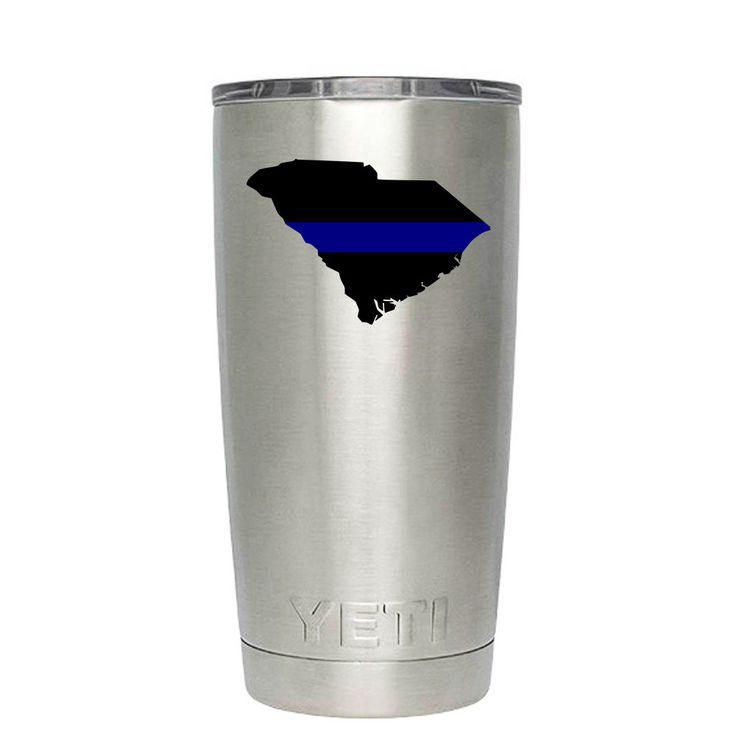 YETI 20 oz Police Thin Blue Line Over South Carolina Tumbler