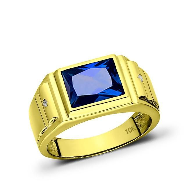 Wedding Handfasting Mens 10k Yellow Gold Blue Sapphire Wide Ring 0 04ct Diamonds Jewelsfor Blue Sapphire Rings Sterling Silver Mens Rings Yellow Gold Sapphire