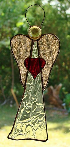 'FRIENDSHIP ANGEL' Stained Glass Leadlight Suncatchers red heart PINK & CRYSTAL