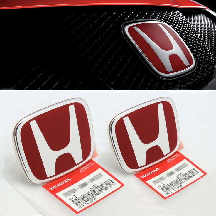 3pcs Jdm Red Front Rear Steering Emblem Badge For Honda