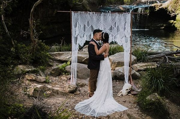 Macrame ceremony backdrop  #wedding #weddings #weddinginspiration #engaged #aislesociety #bohemianwedding