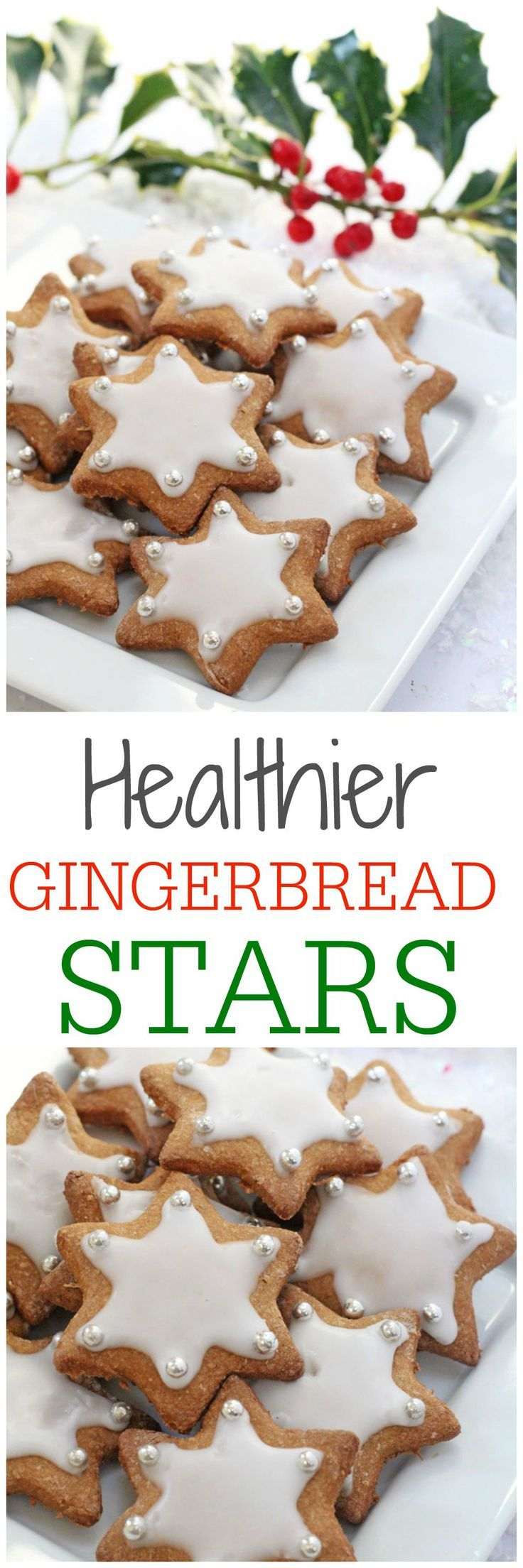 A healthier version of these delicious Christmas Gingerbread Star Cookies made with wholemeal spelt flour, coconut sugar and maple syrup | My Fussy Eater blog