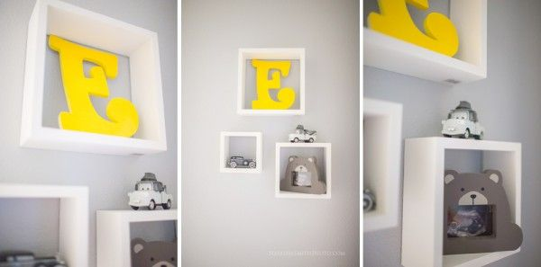 Yellow and grey nursery details - I love the shadow boxes with greyscale toys and the pop of yellow in the initial