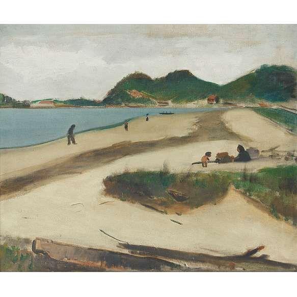 """""""José Pancetti<br>Itanhaém<br>óleo sobre tela<br>54,5 x 65,5 cm<br>assinada canto inferior esquerdo e verso<br>18.10.45"""