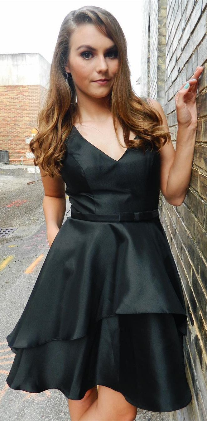 Cute A-line Short Black Homecoming Dress from modseleystore | Hoco ...