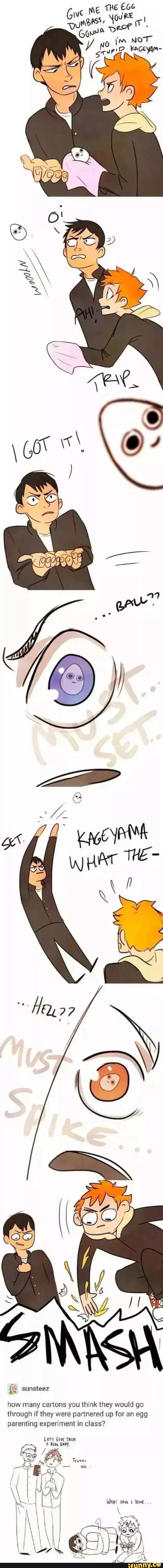 haikyuu, hinata, kageyama, tsukishima, yamaguchi algien lo entendio de manera graciosa??