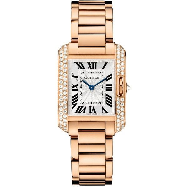CARTIER Tank Anglaise 18ct pink-gold and diamond small watch ($34,650) ❤ liked on Polyvore featuring jewelry, watches, cartier jewelry, pink gold watches, diamond jewellery, rose gold diamond watches and rose gold jewelry