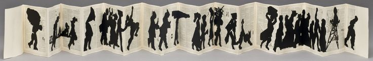 This book's long, accordion–folded format captures the forward rhythm of a procession. Kentridge assembled torn black paper on unbound pages of a French dictionary (c. 1906) to make the first volume. To produce the edition, the paper fragments were replicated using metal templates and affixed to additional dictionary pages.