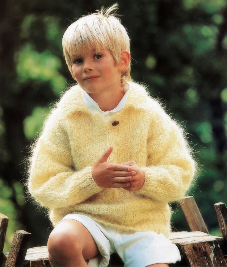 boys kids mohair sweater, photo from jakobsdals knitting pattern, fuzzy fluffy childs childrens
