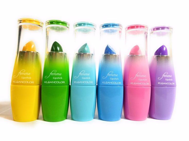 6pcs Kleancolor Femme Lipstick Lip Yellow Green Blue Neon Pastel Color Femme Lip #KLEANCOLOR